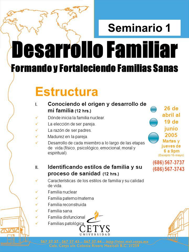 Desarrollo Familiar Formando y Fortaleciendo Familias Sanas 26 de abril al 19 de junio 2005 Martes y jueves de 6 a 9pm (Excepto 10-mayo) Seminario 1 (686) 567-3737 (686) 567-3743 Estructura I.