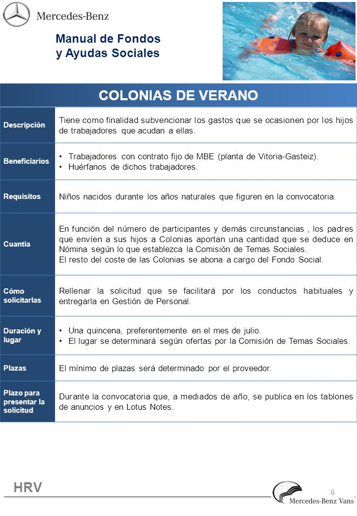 6 COLONIAS DE VERANO Descripción Tiene como finalidad subvencionar los gastos que se ocasionen por los hijos de trabajadores que acudan a ellas.