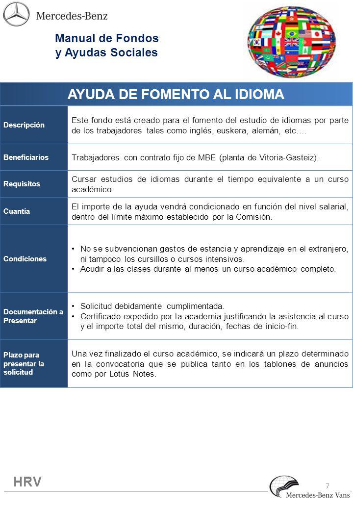 7 AYUDA DE FOMENTO AL IDIOMA Descripción Este fondo está creado para el fomento del estudio de idiomas por parte de los trabajadores tales como inglés, euskera, alemán, etc….