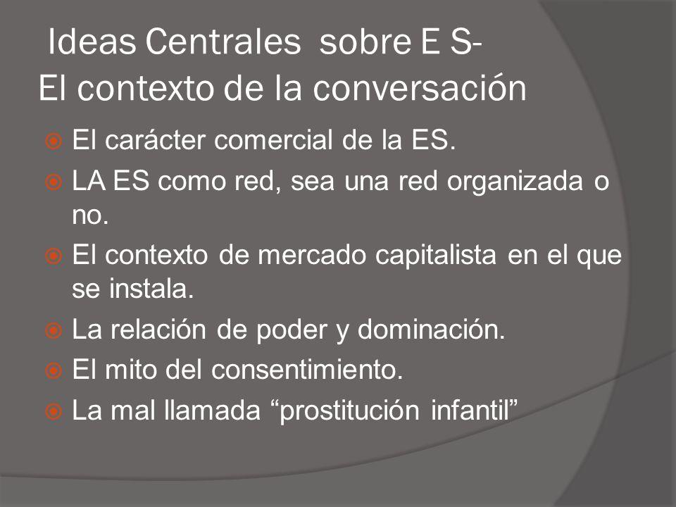 Ideas Centrales sobre E S- El contexto de la conversación  El carácter comercial de la ES.