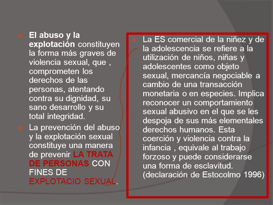  El abuso y la explotación constituyen la forma más graves de violencia sexual, que, comprometen los derechos de las personas, atentando contra su dignidad, su sano desarrollo y su total integridad.