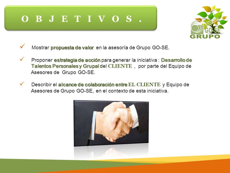 propuesta de valor Mostrar propuesta de valor en la asesoría de Grupo GO-SE.