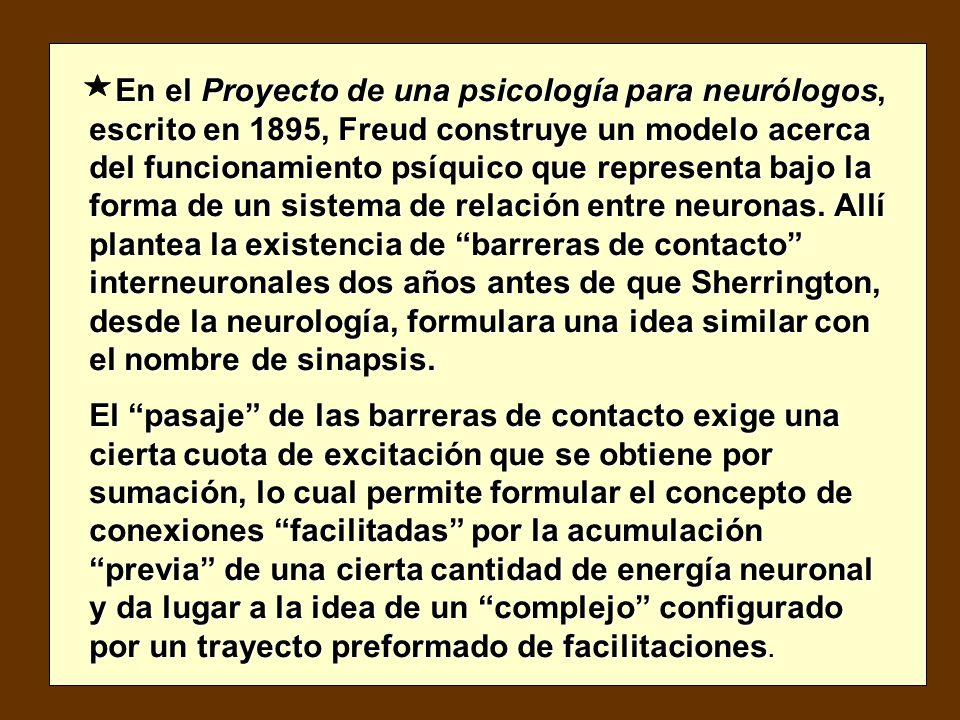 En el Proyecto de una psicología para neurólogos, escrito en 1895, Freud construye un modelo acerca del funcionamiento psíquico que representa bajo la forma de un sistema de relación entre neuronas.