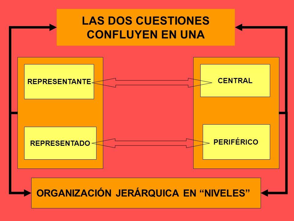 LAS DOS CUESTIONES CONFLUYEN EN UNA CENTRAL REPRESENTANTE ORGANIZACIÓN JERÁRQUICA EN NIVELES PERIFÉRICO REPRESENTADO