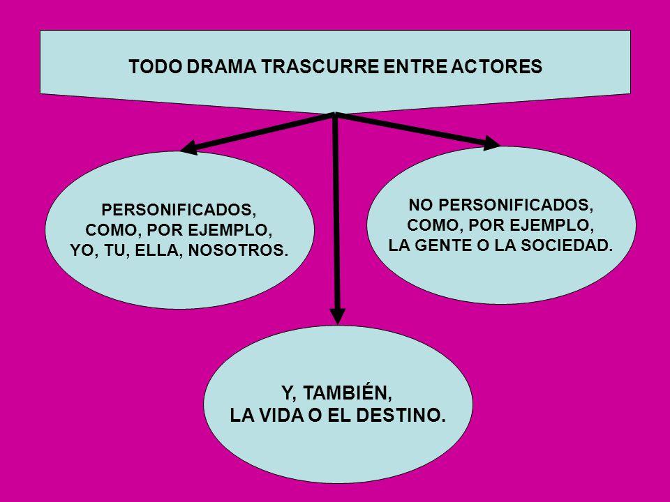 TODO DRAMA TRASCURRE ENTRE ACTORES Y, TAMBIÉN, LA VIDA O EL DESTINO.