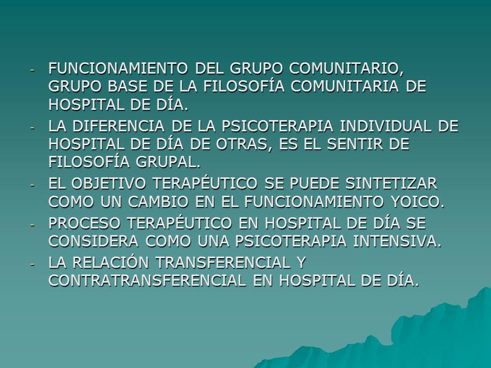 - FUNCIONAMIENTO DEL GRUPO COMUNITARIO, GRUPO BASE DE LA FILOSOFÍA COMUNITARIA DE HOSPITAL DE DÍA.