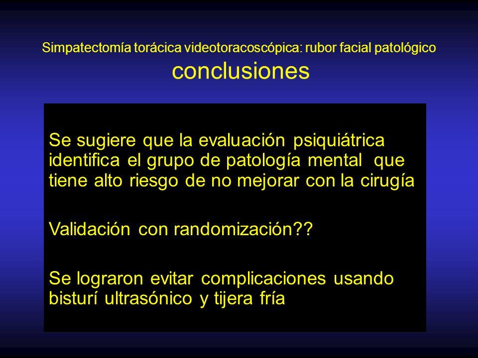 Simpatectomía torácica videotoracoscópica: rubor facial patológico conclusiones Se sugiere que la evaluación psiquiátrica identifica el grupo de patología mental que tiene alto riesgo de no mejorar con la cirugía Validación con randomización .