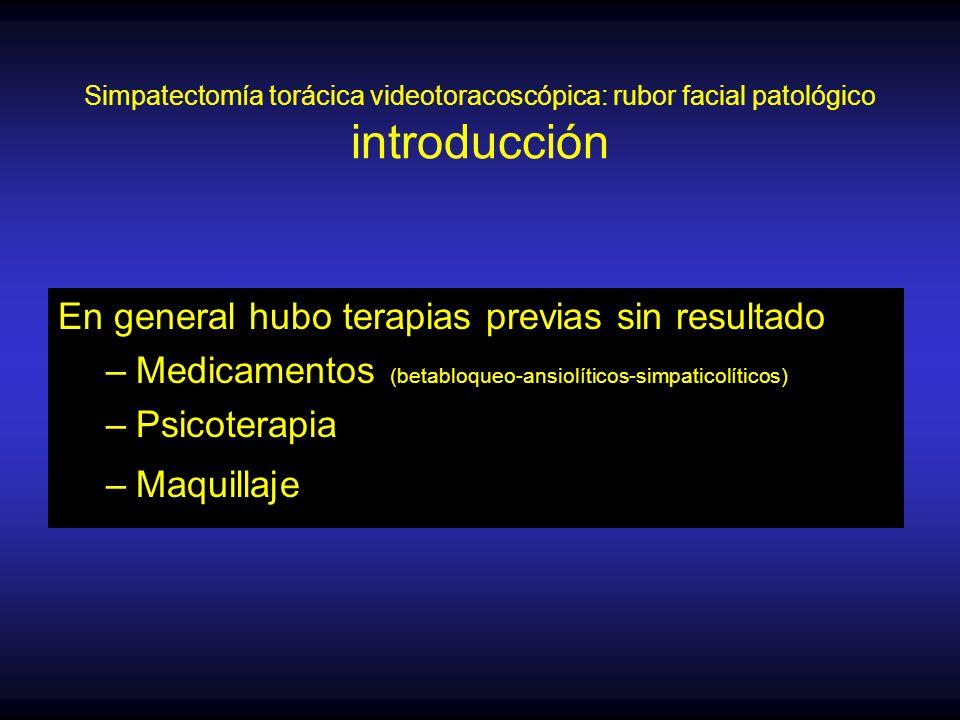 Simpatectomía torácica videotoracoscópica: rubor facial patológico introducción En general hubo terapias previas sin resultado –Medicamentos (betabloqueo-ansiolíticos-simpaticolíticos) –Psicoterapia –Maquillaje