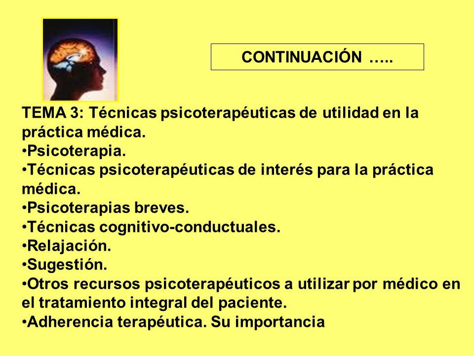TEMA 3: Técnicas psicoterapéuticas de utilidad en la práctica médica.