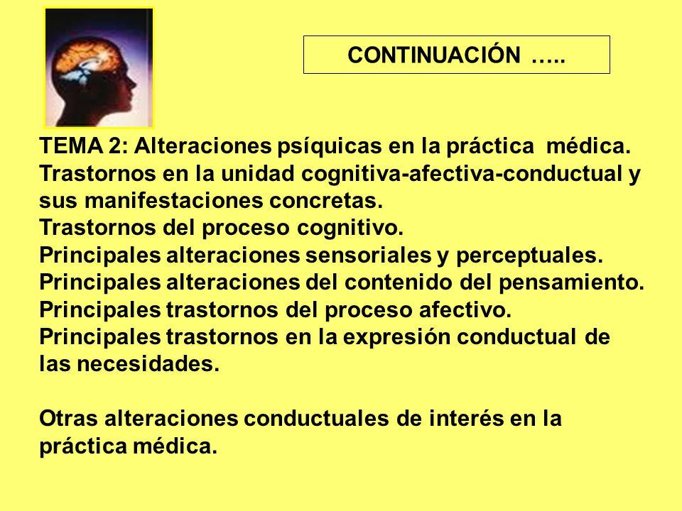 TEMA 2: Alteraciones psíquicas en la práctica médica.