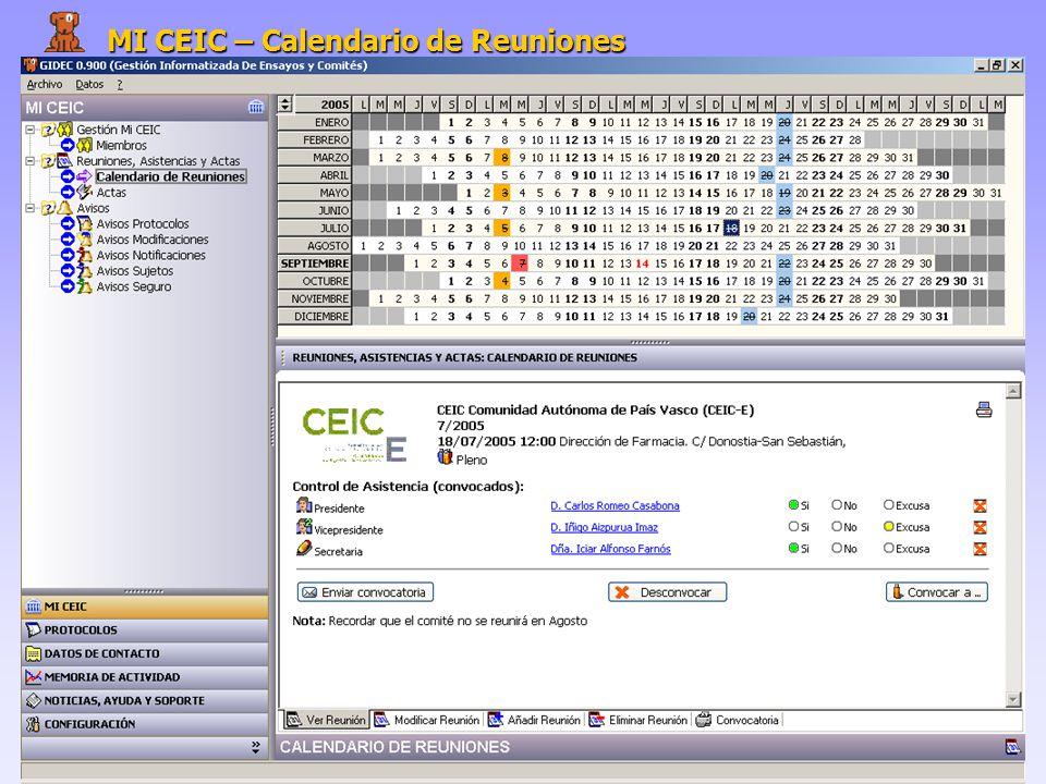 MI CEIC – Calendario de Reuniones