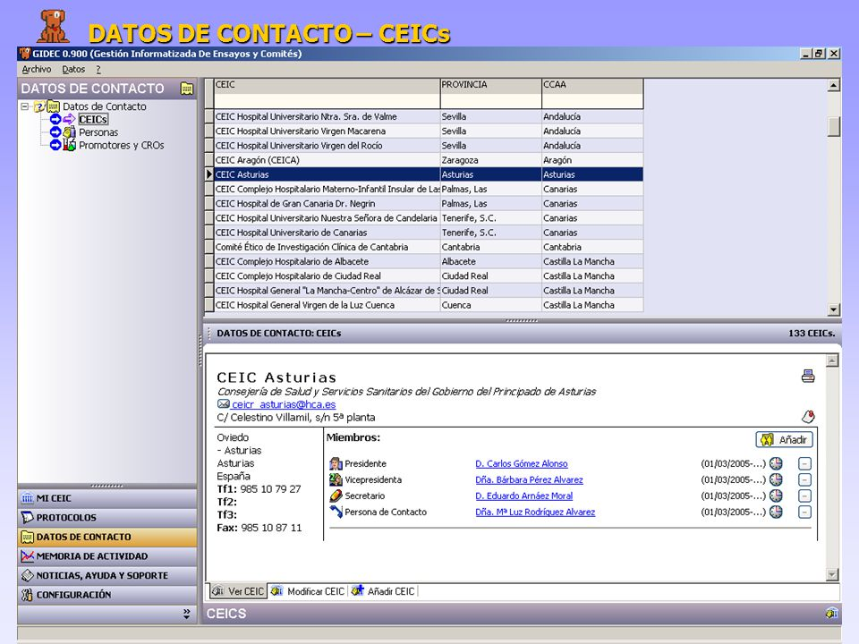 DATOS DE CONTACTO – CEICs