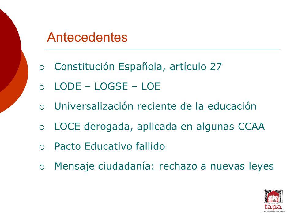 Antecedentes  Constitución Española, artículo 27  LODE – LOGSE – LOE  Universalización reciente de la educación  LOCE derogada, aplicada en algunas CCAA  Pacto Educativo fallido  Mensaje ciudadanía: rechazo a nuevas leyes