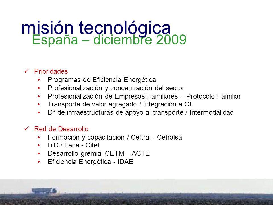 5 Prioridades Programas de Eficiencia Energética Profesionalización y concentración del sector Profesionalización de Empresas Familiares – Protocolo Familiar Transporte de valor agregado / Integración a OL D° de infraestructuras de apoyo al transporte / Intermodalidad Red de Desarrollo Formación y capacitación / Ceftral - Cetralsa I+D / Itene - Citet Desarrollo gremial CETM – ACTE Eficiencia Energética - IDAE misión tecnológica España – diciembre 2009