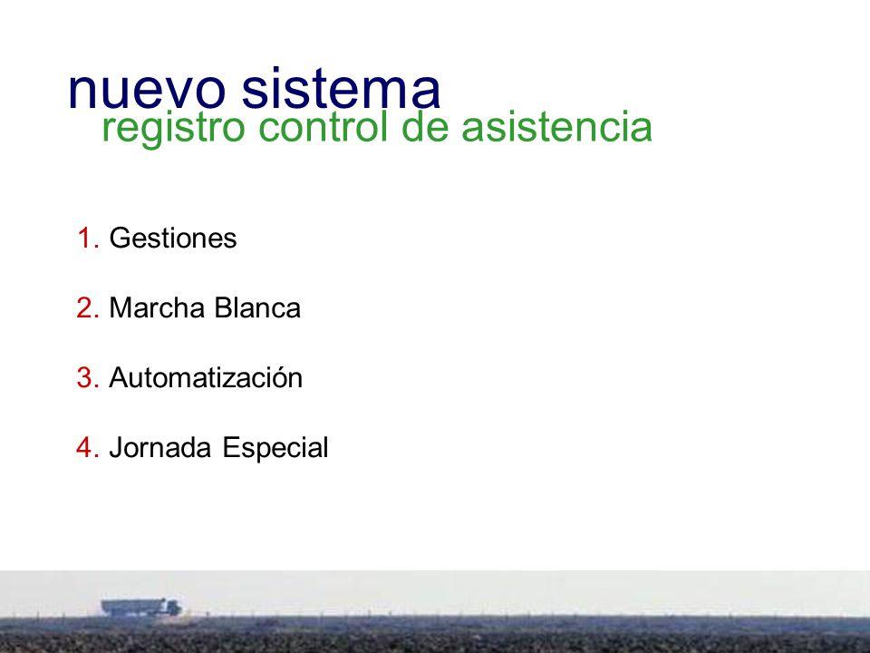 7 1.Gestiones 2.Marcha Blanca 3.Automatización 4.Jornada Especial nuevo sistema registro control de asistencia