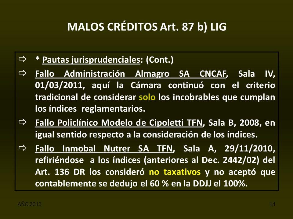 AÑO 201314 MALOS CRÉDITOS Art.