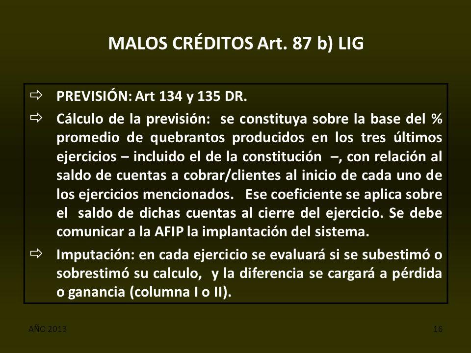 AÑO 201316 MALOS CRÉDITOS Art. 87 b) LIG  PREVISIÓN: Art 134 y 135 DR.
