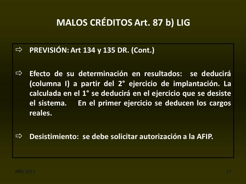 AÑO 201317 MALOS CRÉDITOS Art. 87 b) LIG  PREVISIÓN: Art 134 y 135 DR.