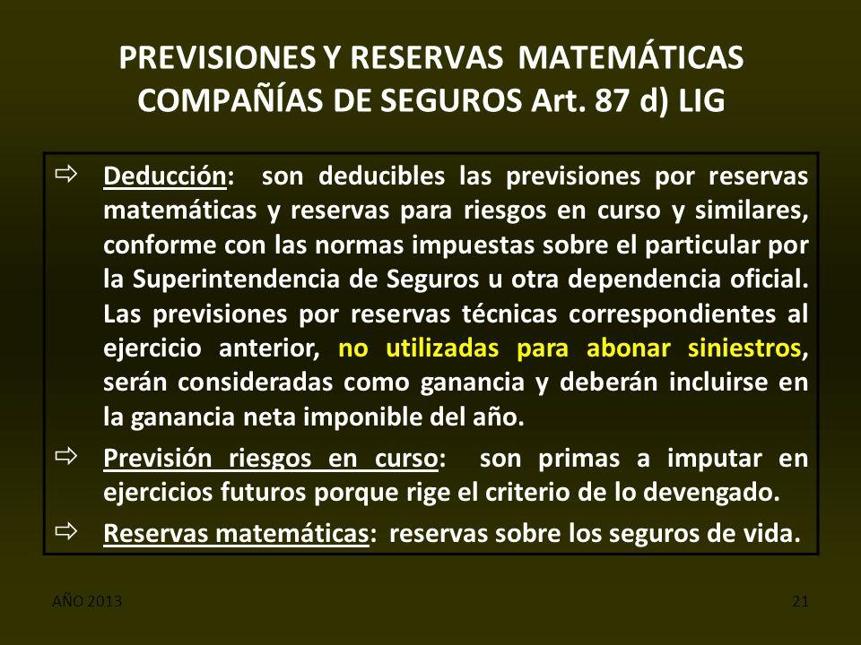 AÑO 201321 PREVISIONES Y RESERVAS MATEMÁTICAS COMPAÑÍAS DE SEGUROS Art.
