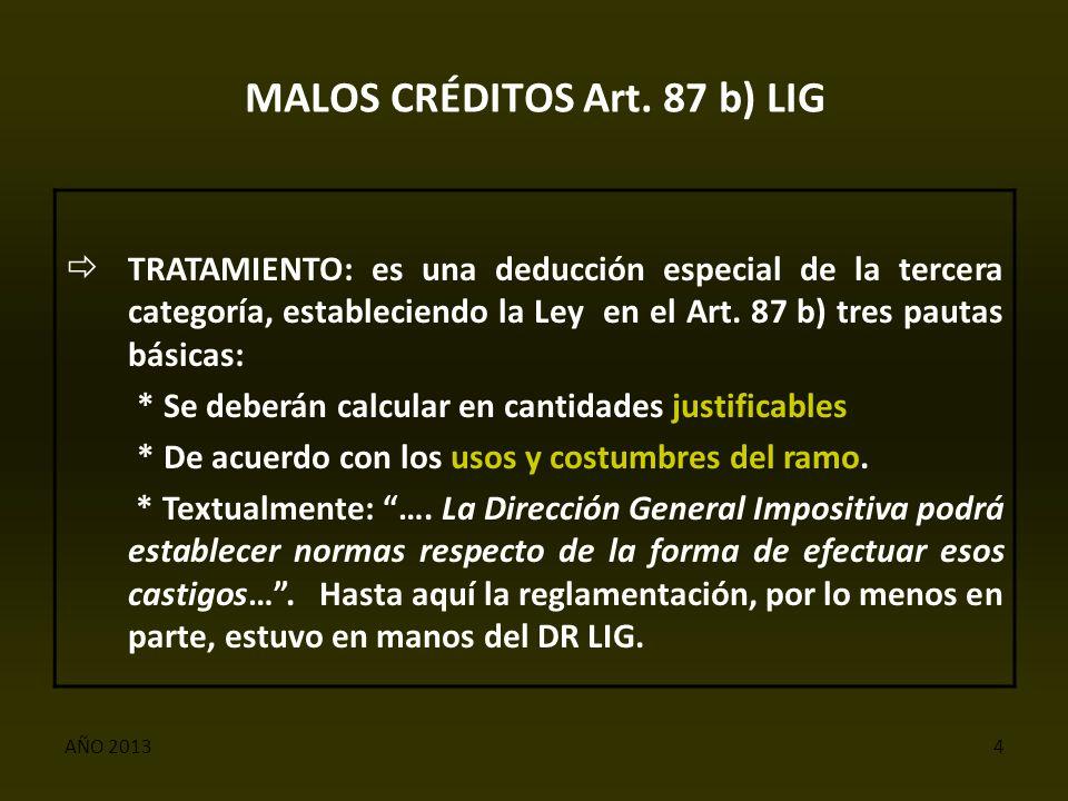 AÑO 20134 MALOS CRÉDITOS Art.