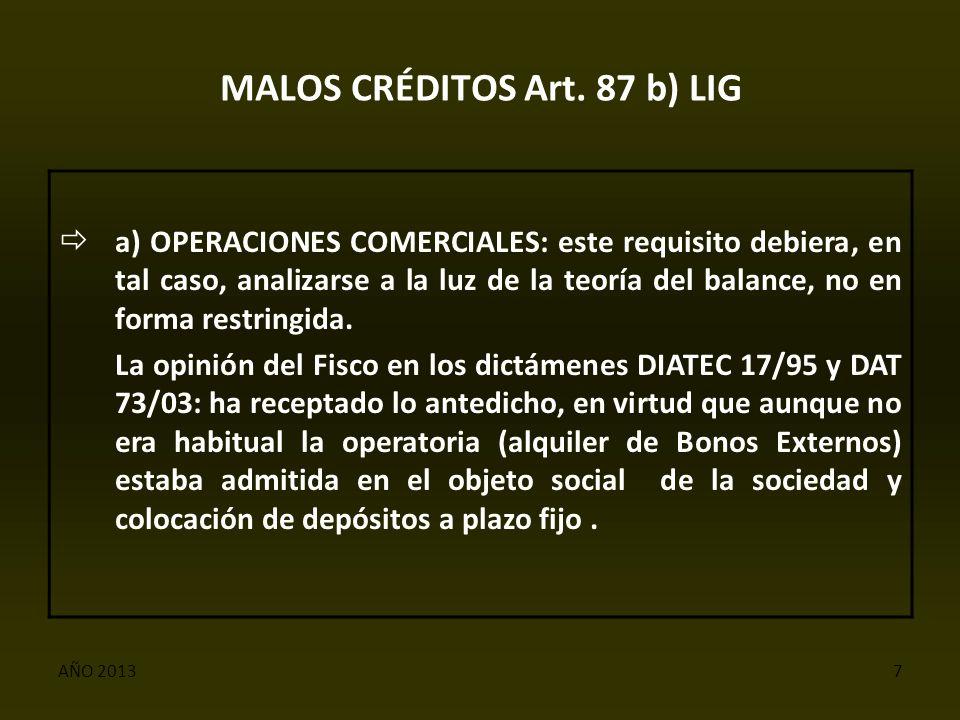 AÑO 20137 MALOS CRÉDITOS Art.