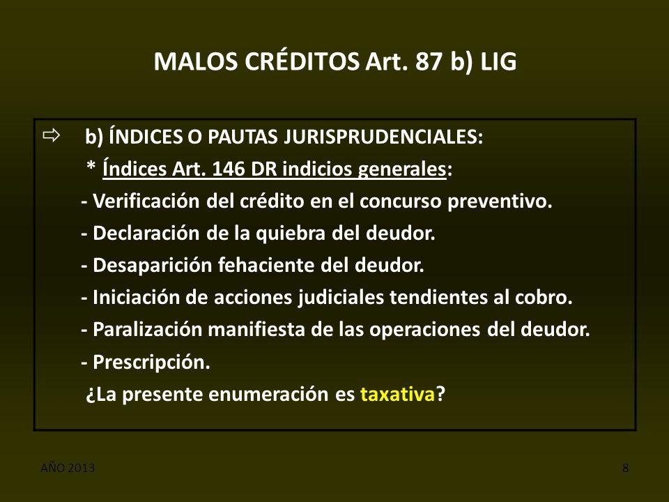 AÑO 20138 MALOS CRÉDITOS Art. 87 b) LIG  b) ÍNDICES O PAUTAS JURISPRUDENCIALES: * Índices Art.