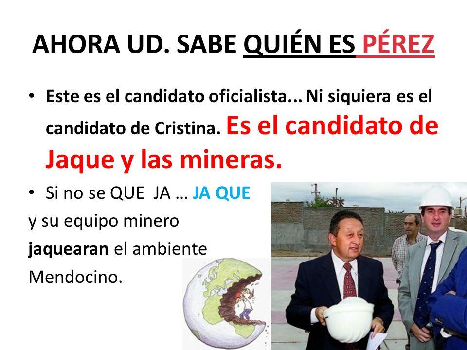 AHORA UD. SABE QUIÉN ES PÉREZ Este es el candidato oficialista...