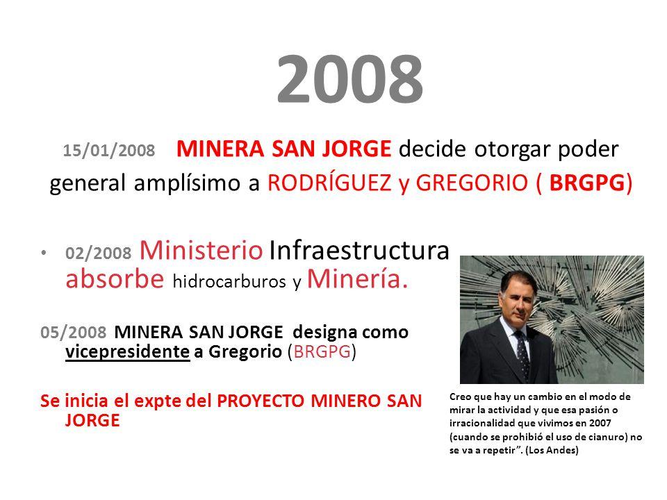 2008 15/01/2008 MINERA SAN JORGE decide otorgar poder general amplísimo a RODRÍGUEZ y GREGORIO ( BRGPG) 02/2008 Ministerio Infraestructura absorbe hidrocarburos y Minería.