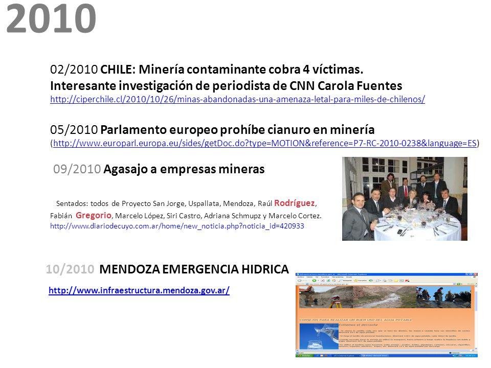 2010 02/2010 CHILE: Minería contaminante cobra 4 víctimas.