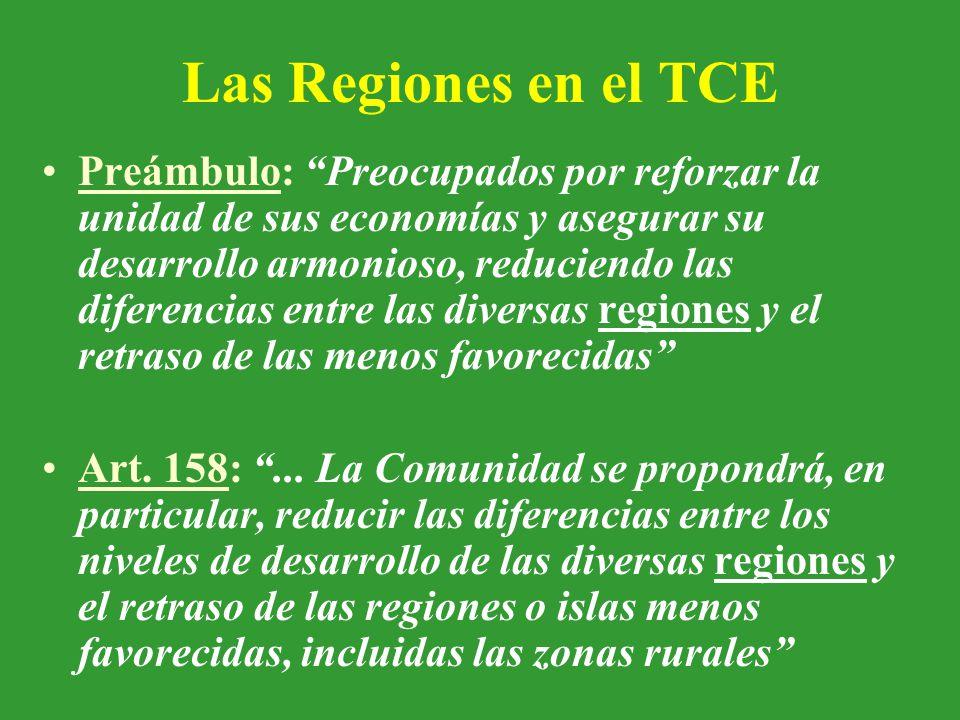 Las Regiones en el TCE Preámbulo: Preocupados por reforzar la unidad de sus economías y asegurar su desarrollo armonioso, reduciendo las diferencias entre las diversas regiones y el retraso de las menos favorecidas Art.