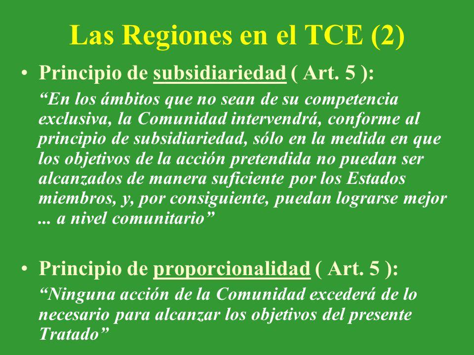 Las Regiones en el TCE (2) Principio de subsidiariedad ( Art.