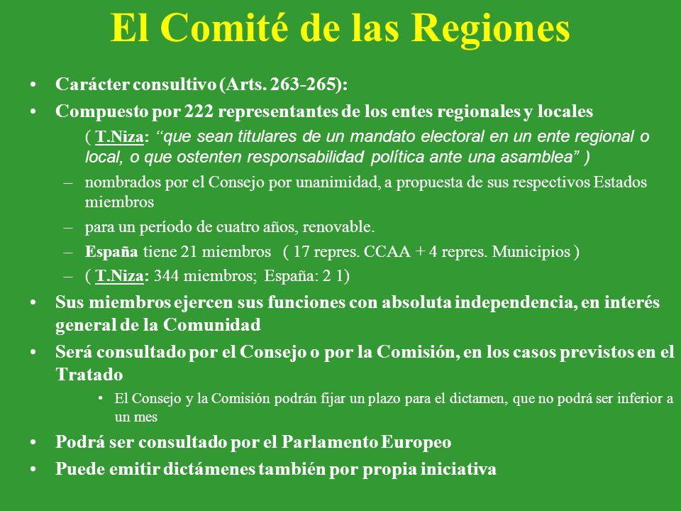 El Comité de las Regiones Carácter consultivo (Arts.