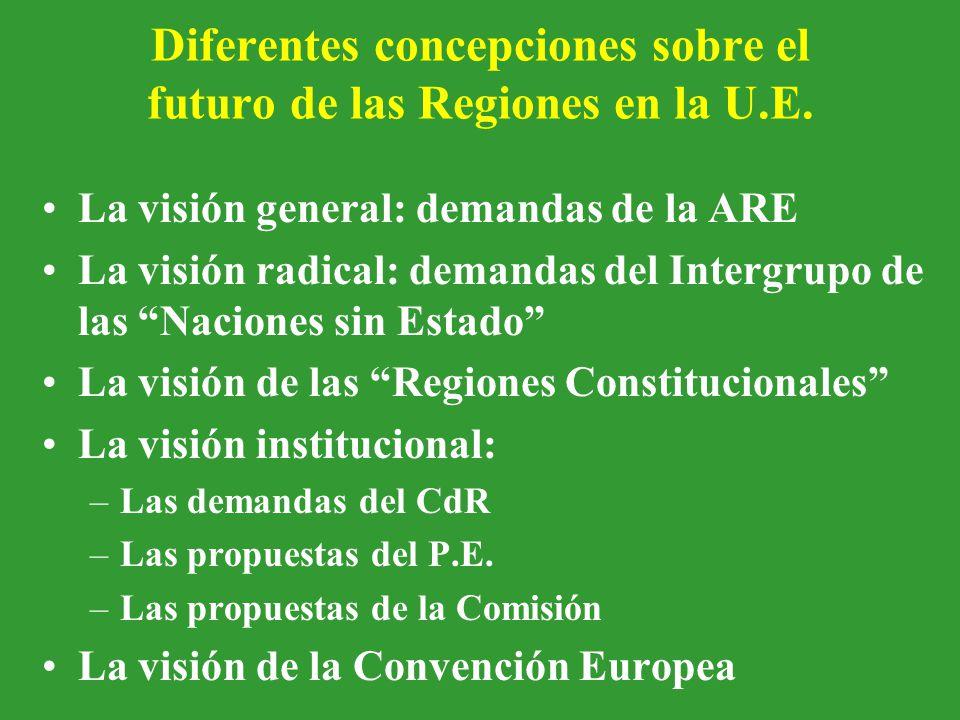 Diferentes concepciones sobre el futuro de las Regiones en la U.E.