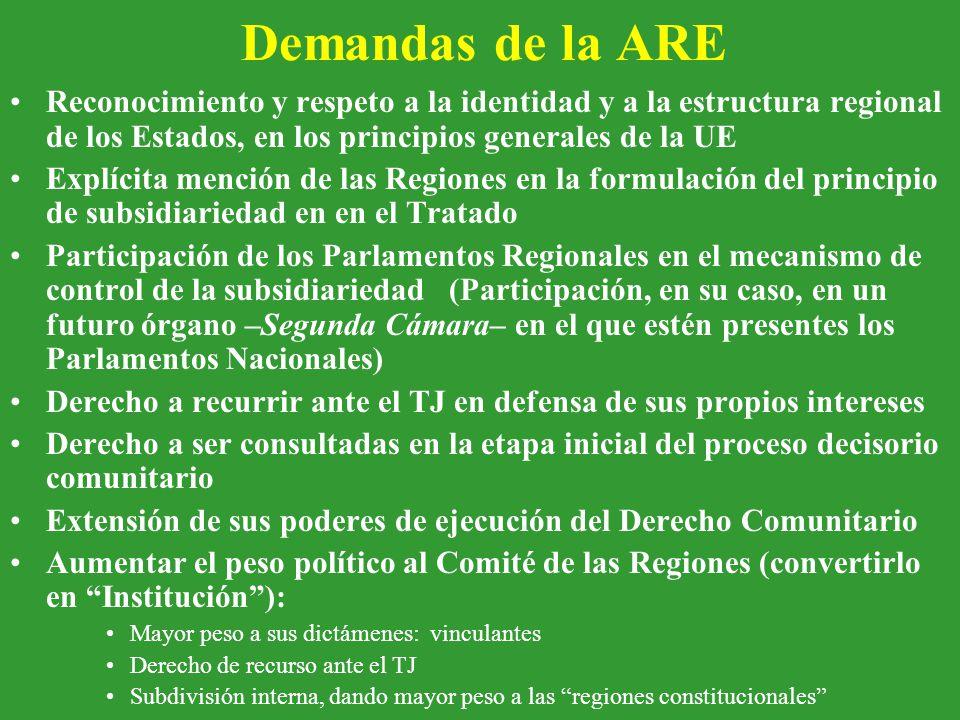 Demandas de la ARE Reconocimiento y respeto a la identidad y a la estructura regional de los Estados, en los principios generales de la UE Explícita mención de las Regiones en la formulación del principio de subsidiariedad en en el Tratado Participación de los Parlamentos Regionales en el mecanismo de control de la subsidiariedad (Participación, en su caso, en un futuro órgano –Segunda Cámara– en el que estén presentes los Parlamentos Nacionales) Derecho a recurrir ante el TJ en defensa de sus propios intereses Derecho a ser consultadas en la etapa inicial del proceso decisorio comunitario Extensión de sus poderes de ejecución del Derecho Comunitario Aumentar el peso político al Comité de las Regiones (convertirlo en Institución ): Mayor peso a sus dictámenes: vinculantes Derecho de recurso ante el TJ Subdivisión interna, dando mayor peso a las regiones constitucionales