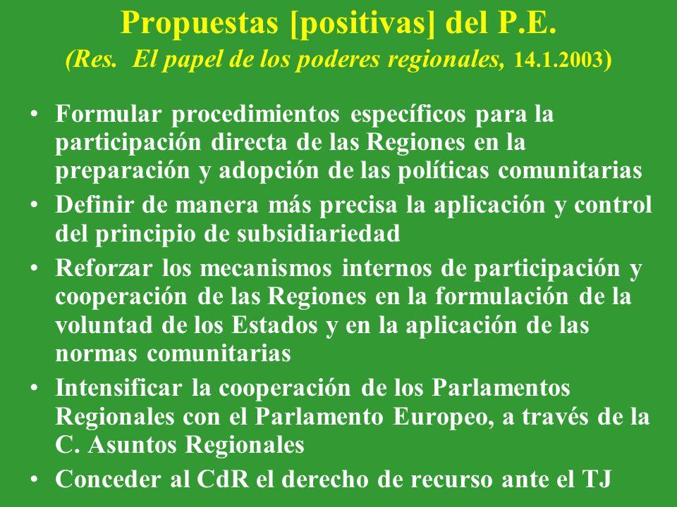 Propuestas [positivas] del P.E. (Res.