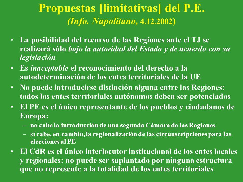 Propuestas [limitativas] del P.E. (Info.