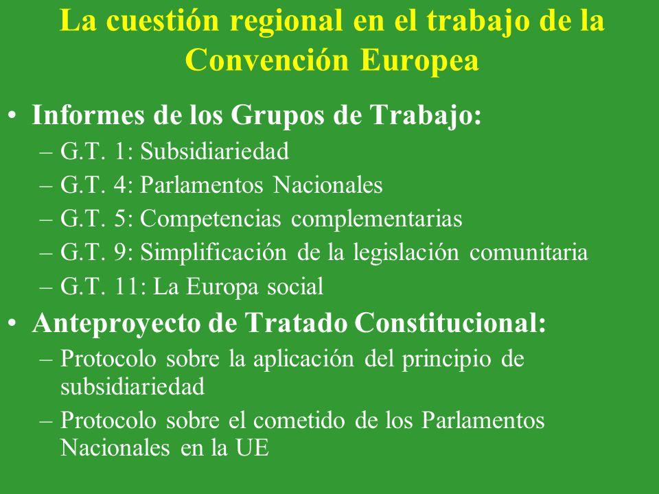 La cuestión regional en el trabajo de la Convención Europea Informes de los Grupos de Trabajo: –G.T.