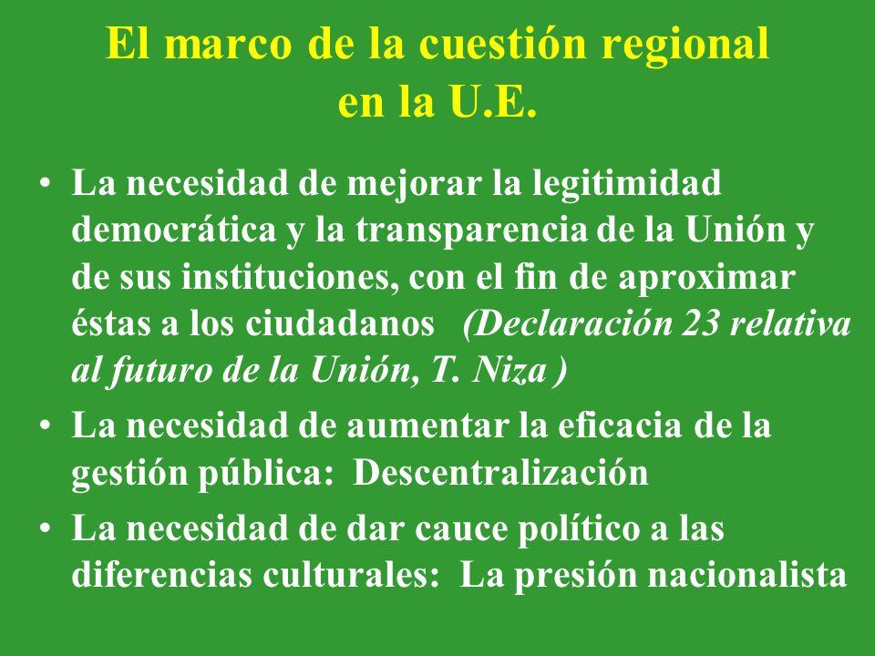 El marco de la cuestión regional en la U.E.