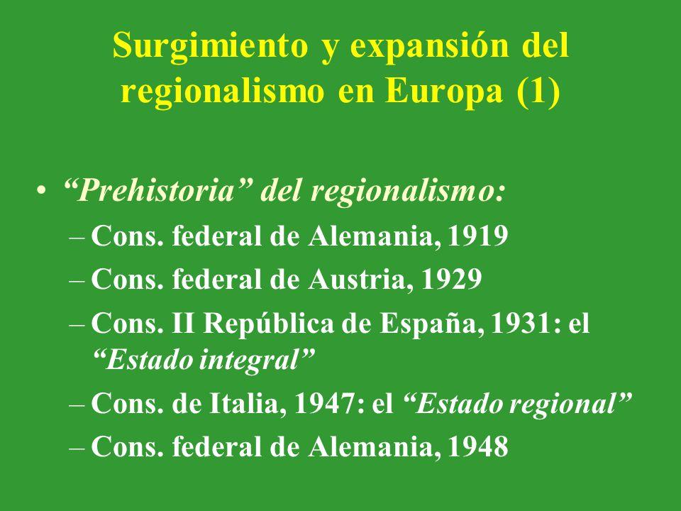 Surgimiento y expansión del regionalismo en Europa (1) Prehistoria del regionalismo: –Cons.