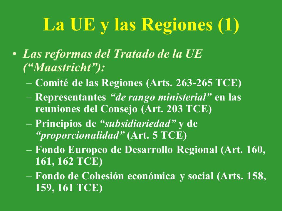 La UE y las Regiones (1) Las reformas del Tratado de la UE ( Maastricht ): –Comité de las Regiones (Arts.