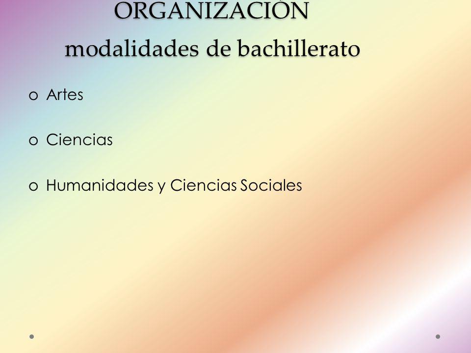ORGANIZACIÓN modalidades de bachillerato oArtes oCiencias oHumanidades y Ciencias Sociales