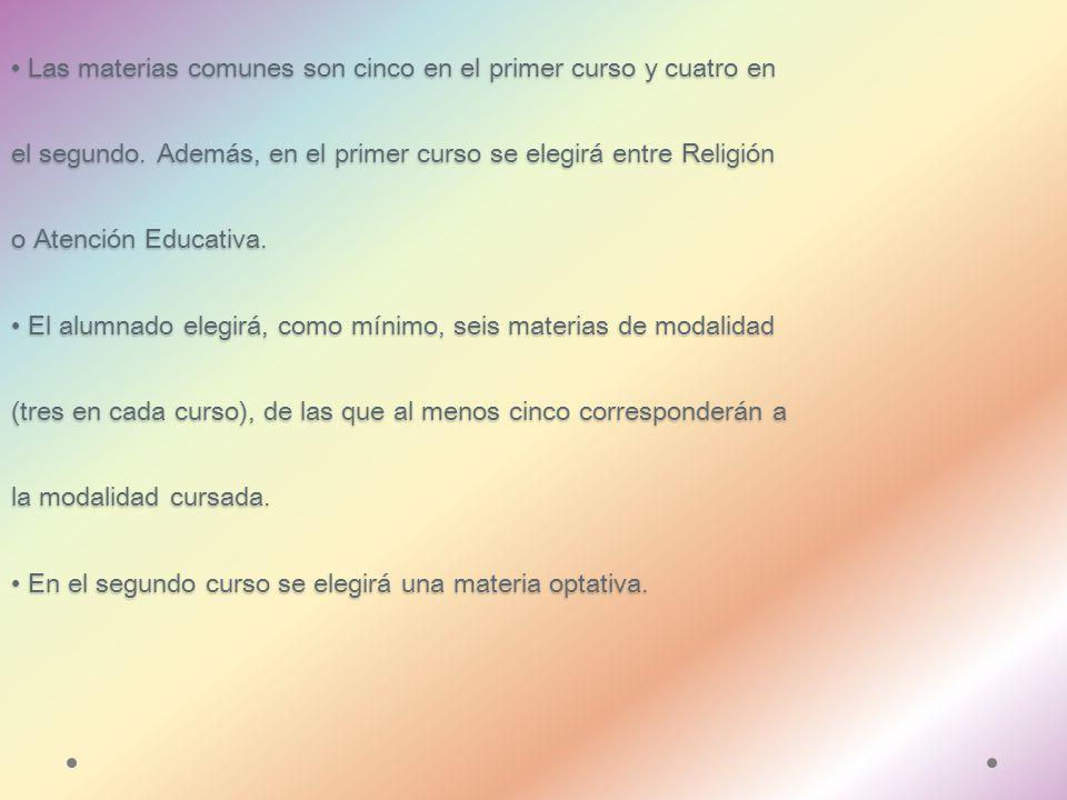 Estructura del Bachillerato El Bachillerato consta de tres modalidades: Artes; Ciencias y Tecnología; y Humanidades y Ciencias sociales.