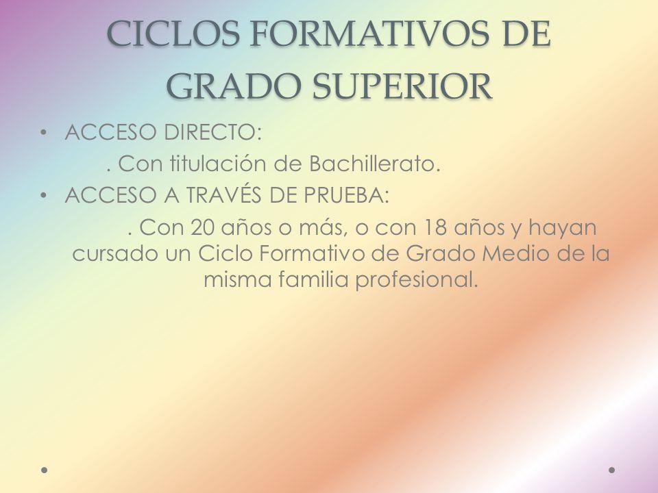 CICLOS FORMATIVOS DE GRADO SUPERIOR ACCESO DIRECTO:.