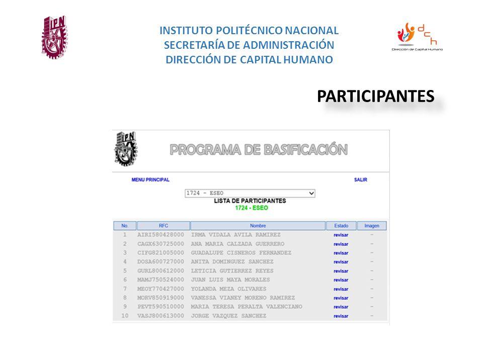 INSTITUTO POLITÉCNICO NACIONAL SECRETARÍA DE ADMINISTRACIÓN DIRECCIÓN DE CAPITAL HUMANO PARTICIPANTES
