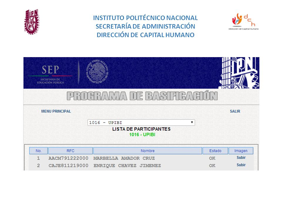 INSTITUTO POLITÉCNICO NACIONAL SECRETARÍA DE ADMINISTRACIÓN DIRECCIÓN DE CAPITAL HUMANO