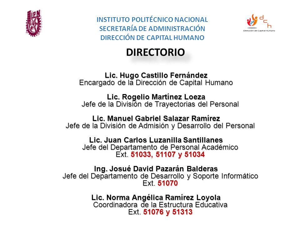 Lic. Hugo Castillo Fernández Encargado de la Dirección de Capital Humano Lic.