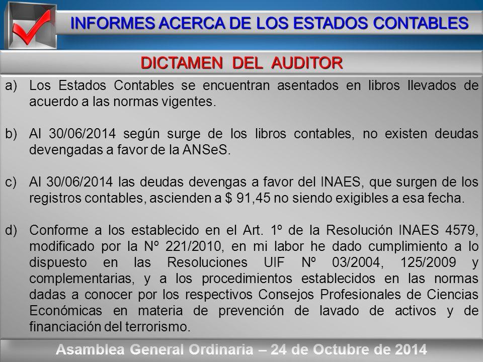 Here comes your footer ORDEN DEL DIA – Punto Nº 2 Asamblea General Ordinaria – 24 de Octubre de 2013 INFORMES ACERCA DE LOS ESTADOS CONTABLES DICTAMEN DEL AUDITOR INFORME DE LA JUNTA FISCALIZADORA