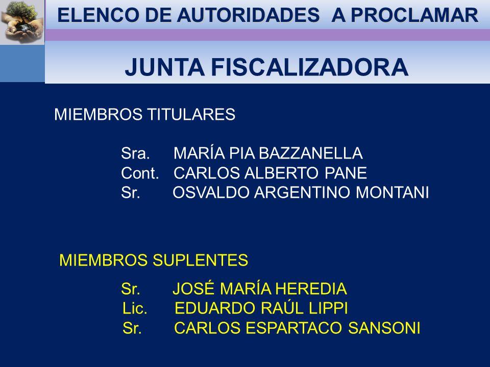 ELENCO DE AUTORIDADES A PROCLAMAR CONSEJO DIRECTIVO PRESIDENTE Lic.