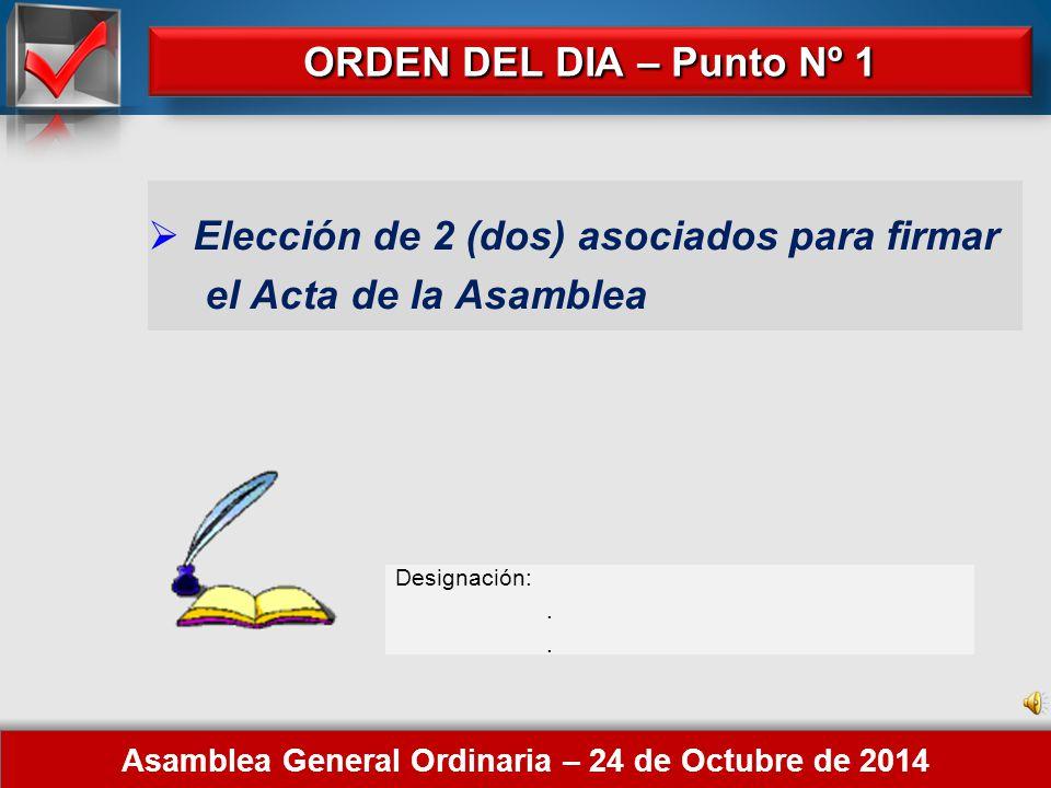 Here comes your footer 1. Elección de 2 (dos) asociados para firmar el Acta de la Asamblea.