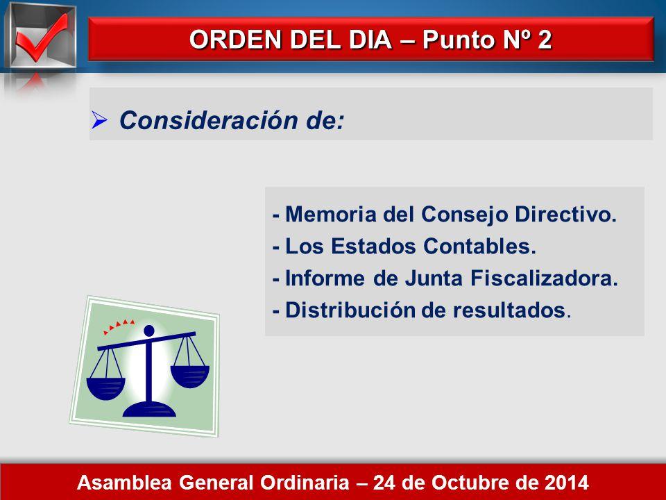 Here comes your footer ORDEN DEL DIA – Punto Nº 1 Asamblea General Ordinaria – 24 de Octubre de 2014  Elección de 2 (dos) asociados para firmar el Acta de la Asamblea Designación:.